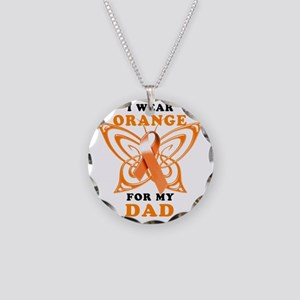 I Wear Orange for my Dad Necklace Circle Charm