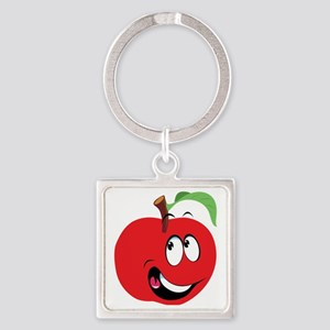 Happy Apple Square Keychain