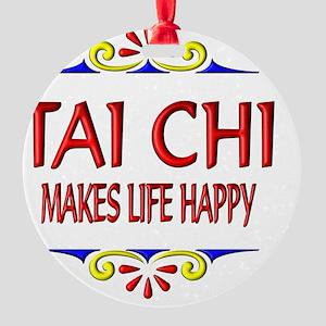 Tai Chi Happy Life Round Ornament