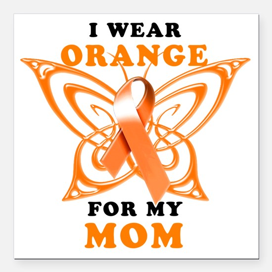 "I Wear Orange for my Mom Square Car Magnet 3"" x 3"""