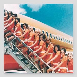 "Flight Attendants Square Car Magnet 3"" x 3"""