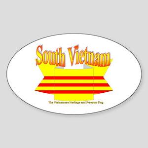 South Vietnam flag ribbon Oval Sticker