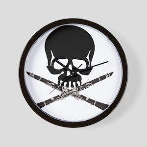 Skull with Clarinets Wall Clock