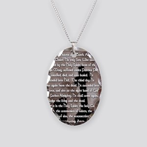 Apostles Creed with Gothic Cro Necklace Oval Charm