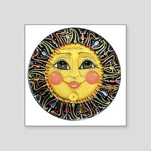 "PLATE-SunFace-Black-rev Square Sticker 3"" x 3"""