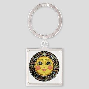 PLATE-SunFace-Black-rev Square Keychain