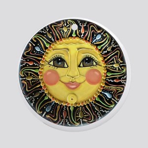 PLATE-SunFace-Black-rev Round Ornament
