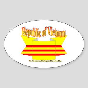 The Vietnamese-american flag ribbon Oval Sticker