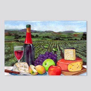 Wine  Cheese landscape Postcards (Package of 8)
