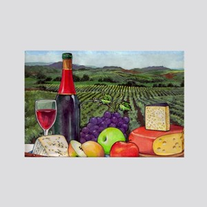 Wine  Cheese landscape Rectangle Magnet
