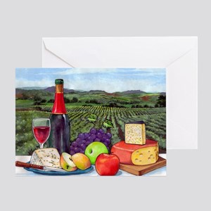 Wine  Cheese landscape Greeting Card