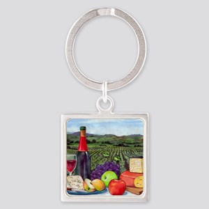 Wine  Cheese landscape Square Keychain