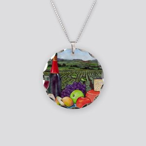 Wine  Cheese landscape Necklace Circle Charm