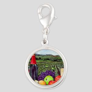 Wine  Cheese landscape Silver Round Charm