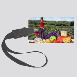 Wine  Cheese landscape Large Luggage Tag