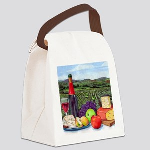 Wine  Cheese landscape Canvas Lunch Bag