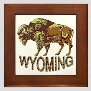 Wyoming state crest e3 Framed Tile