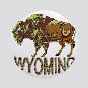 Wyoming state crest e3 Round Ornament
