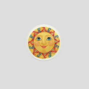 PLATE-Sun-Red-goldballs-rev Mini Button