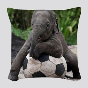 Elephant Soccer Woven Throw Pillow