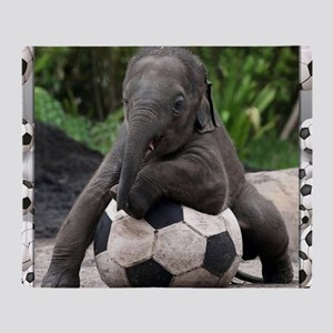 Elephant Soccer Throw Blanket
