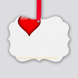 I Love My Horndog darkapparel Picture Ornament