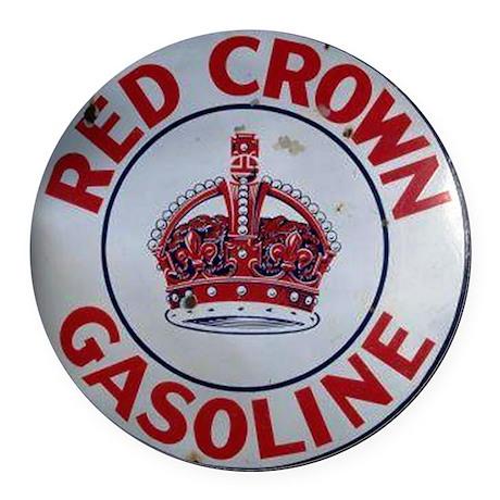 Red Crown Gasoline Round Car Magnet