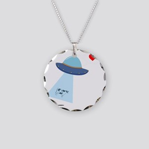UFO Abduction Necklace Circle Charm
