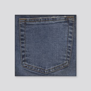 "Blue Denim Pocket Square Sticker 3"" x 3"""