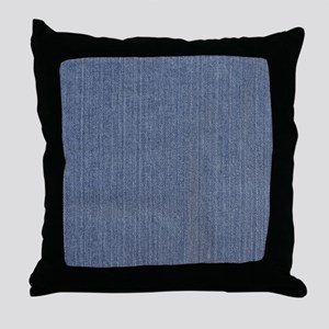 Blue Denim Throw Pillow