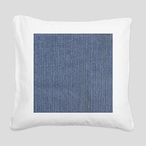 Blue Denim Square Canvas Pillow