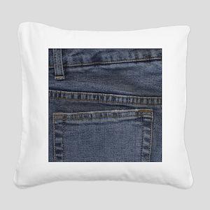 Blue Denim Pocket Square Canvas Pillow