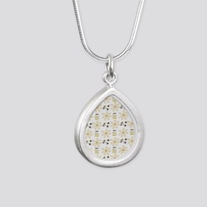 Bees and Flowers Silver Teardrop Necklace