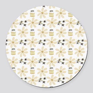 Bees and Flowers Round Car Magnet