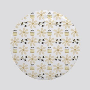 Bees and Flowers Round Ornament