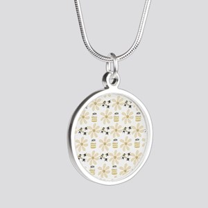 Bees and Flowers Silver Round Necklace