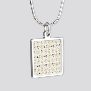 Bees and Flowers Silver Square Necklace