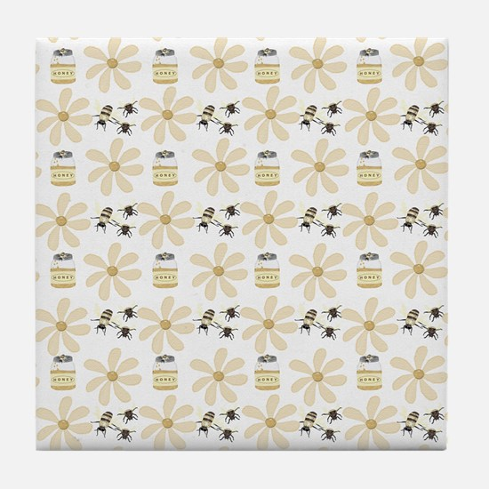 Bees And Flowers Tile Coaster