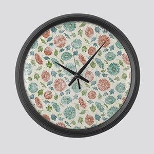 Blue and Red Floral Large Wall Clock