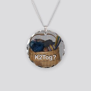 Would You Like To K2tog? Necklace Circle Charm