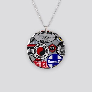 Railroad Necklace Circle Charm
