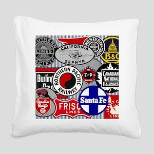 Railroad Square Canvas Pillow