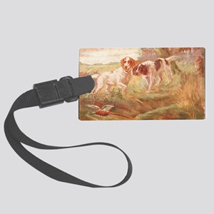 pheasant hunting with bird dogs Large Luggage Tag
