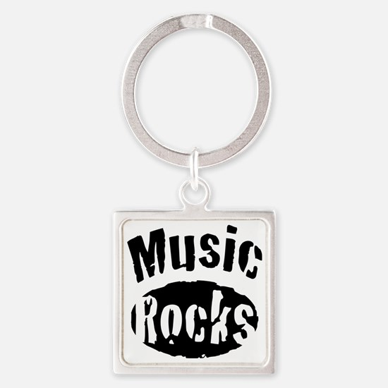Music Rocks Square Keychain