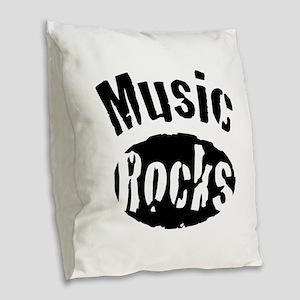 Music Rocks Burlap Throw Pillow