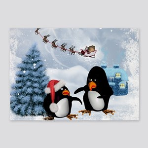 Funny penguin with christmas hat 5'x7'Area Rug