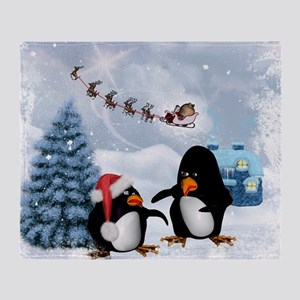 Funny penguin with christmas hat Throw Blanket