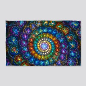 Textured Fractal Spiral Shell Beads 3'x5' Area Rug