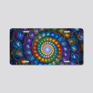 Textured Fractal Spiral She Aluminum License Plate