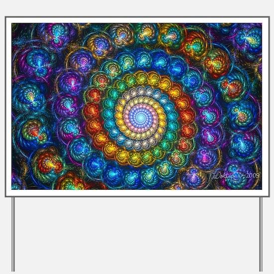 Textured Fractal Spiral Shell Beads Yard Sign
